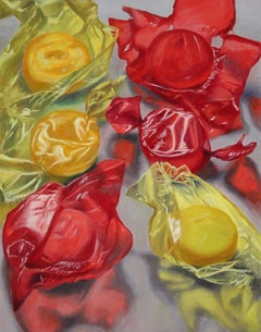 Six Hard Candies, happy bright colors, red, yellow, candy