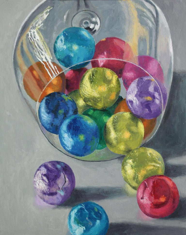 Douglas Newton Still-Life Painting - Spilled Candy, bright colors, super realistic, food, reflections