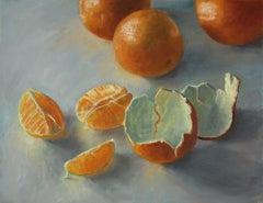 Valencias, realistic contemporary still life, grey and orange