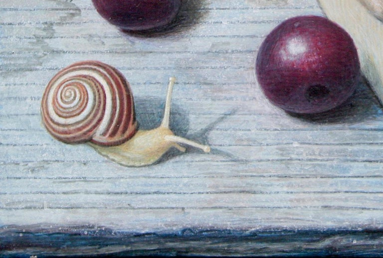 Bing Cherries in a Pint Basket, surreal egg tempera still life painting, 2020 - Surrealist Painting by Douglas Safranek