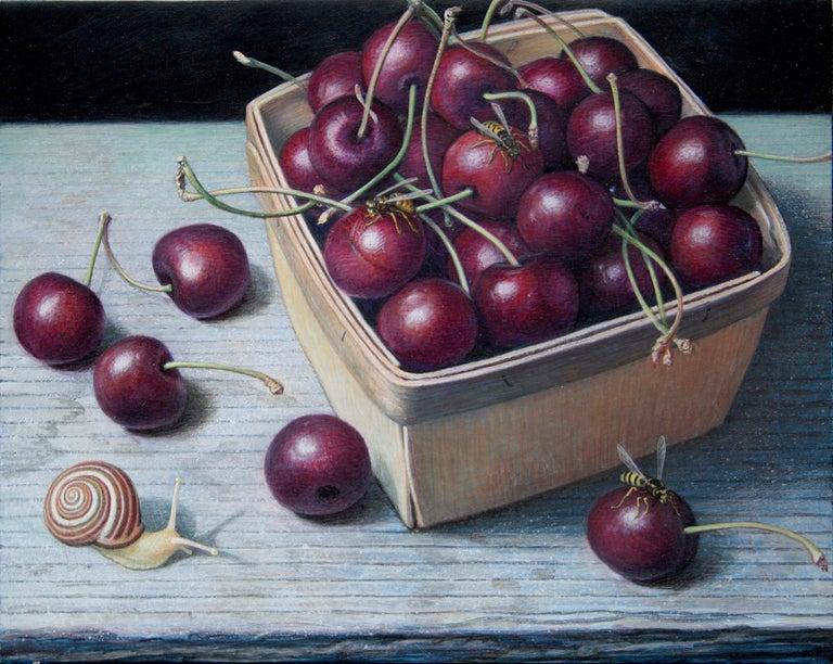 Douglas Safranek Animal Painting - Bing Cherries in a Pint Basket, surreal egg tempera still life painting, 2020
