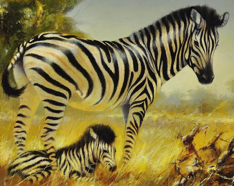 Zebra Mare and Foal. African Wildlife Scene.Safari.Animal. Original Oil Painting For Sale 7