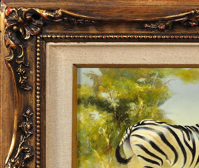 Zebra Mare and Foal. African Wildlife Scene.Safari.Animal. Original Oil Painting For Sale 2
