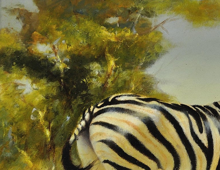 Zebra Mare and Foal. African Wildlife Scene.Safari.Animal. Original Oil Painting For Sale 3