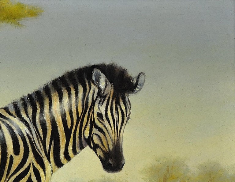 Zebra Mare and Foal. African Wildlife Scene.Safari.Animal. Original Oil Painting For Sale 4