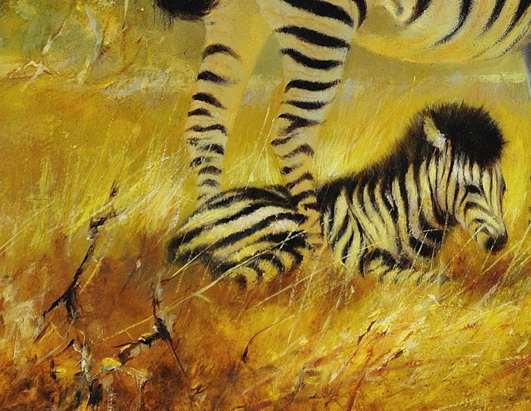 Zebra Mare and Foal. African Wildlife Scene.Safari.Animal. Original Oil Painting For Sale 5