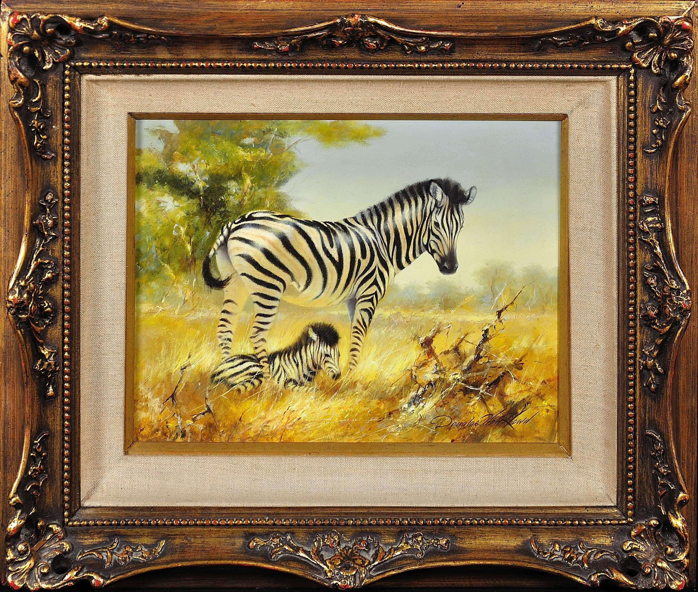 Zebra Mare and Foal. African Wildlife Scene.Safari.Animal. Original Oil Painting