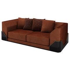 Douglas Velvet Rust-Colored Sofa