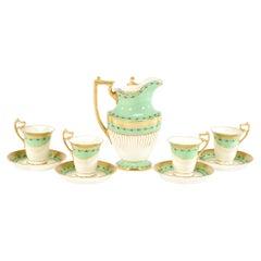 Doulton Burslem Mint Green Hot Chocolate Set for 4 Gilt Gold & White Enamel