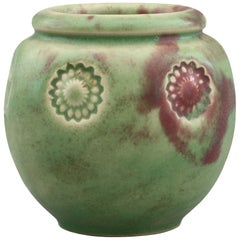 Doulton Lambeth Art Deco Floral Impressed Green Glazed Vase