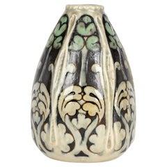 Doulton Lambeth Art Nouveau Stylized Foliage Pottery Vase by Francis Pope