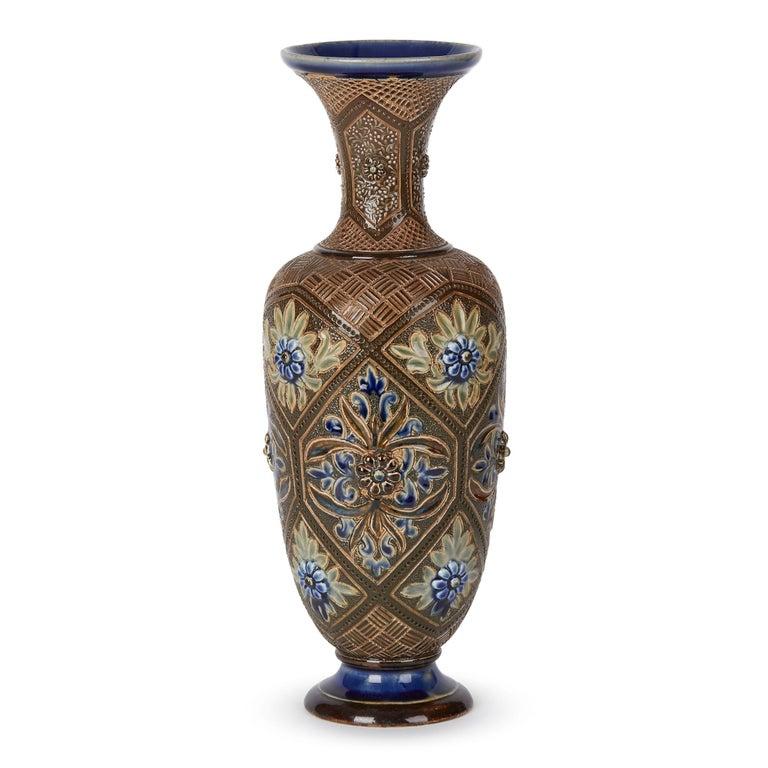 Glazed Doulton Lambeth Art Pottery Vase by Frank Butler, 1882 For Sale
