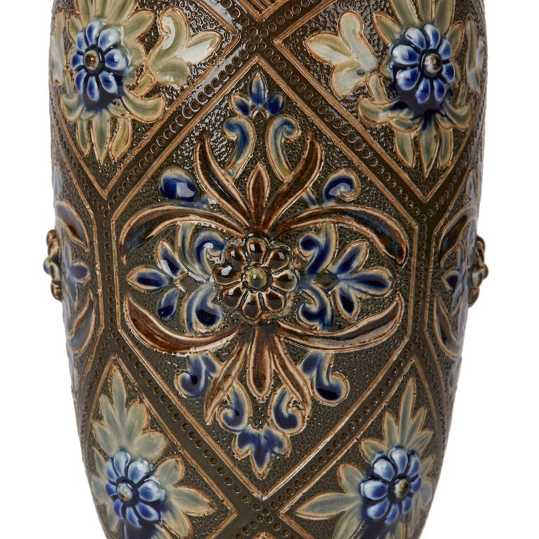 Late 19th Century Doulton Lambeth Art Pottery Vase by Frank Butler, 1882 For Sale