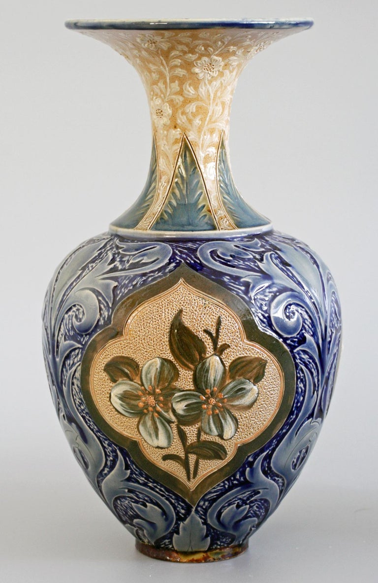 Doulton Lambeth Exceptional Slip Decorated Floral Vase by Elizabeth M Small 1883 2