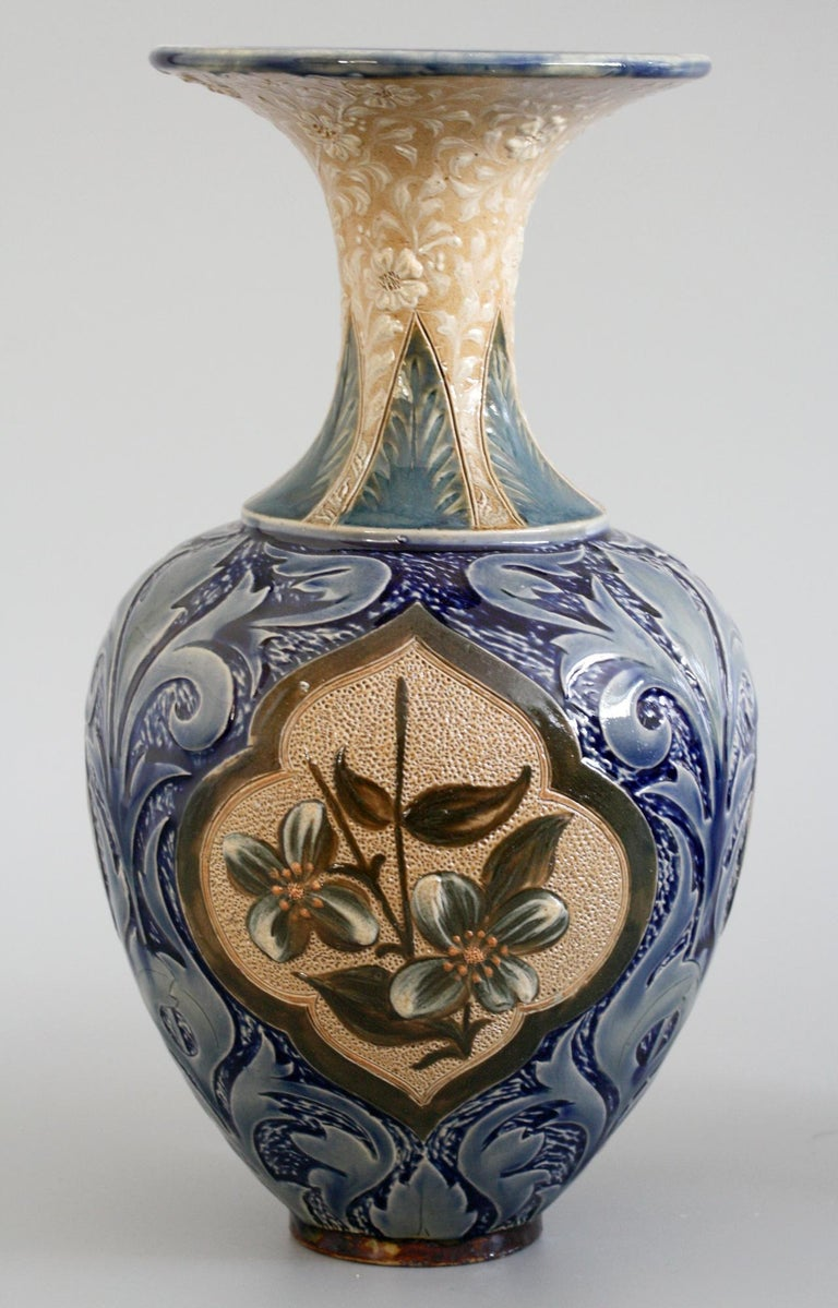 Doulton Lambeth Exceptional Slip Decorated Floral Vase by Elizabeth M Small 1883 3