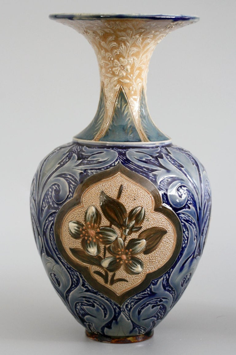 Doulton Lambeth Exceptional Slip Decorated Floral Vase by Elizabeth M Small 1883 4