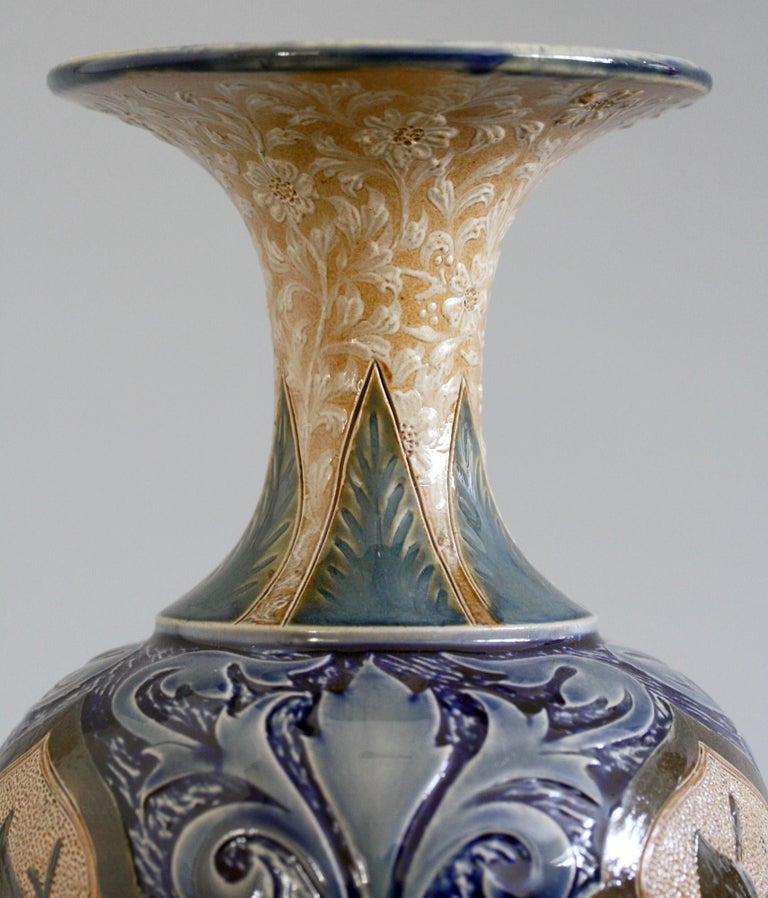 Doulton Lambeth Exceptional Slip Decorated Floral Vase by Elizabeth M Small 1883 7