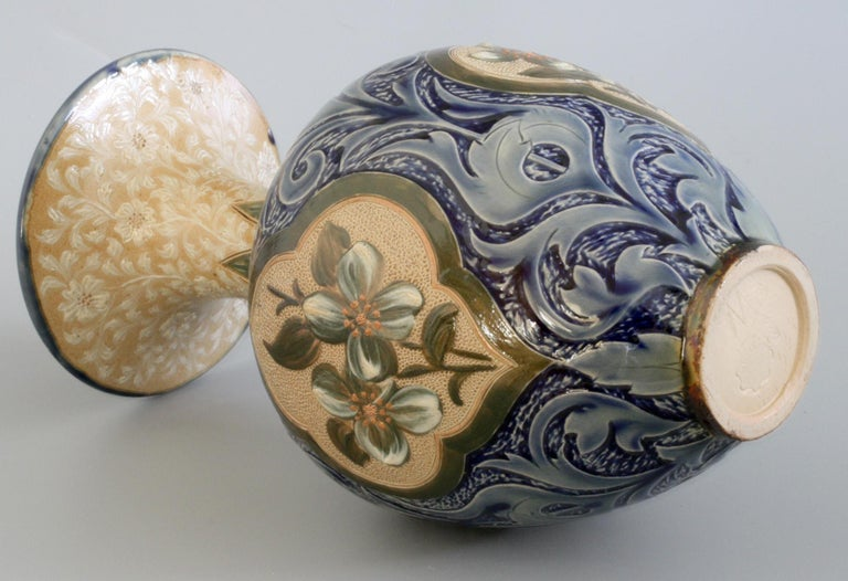 Late 19th Century Doulton Lambeth Exceptional Slip Decorated Floral Vase by Elizabeth M Small 1883