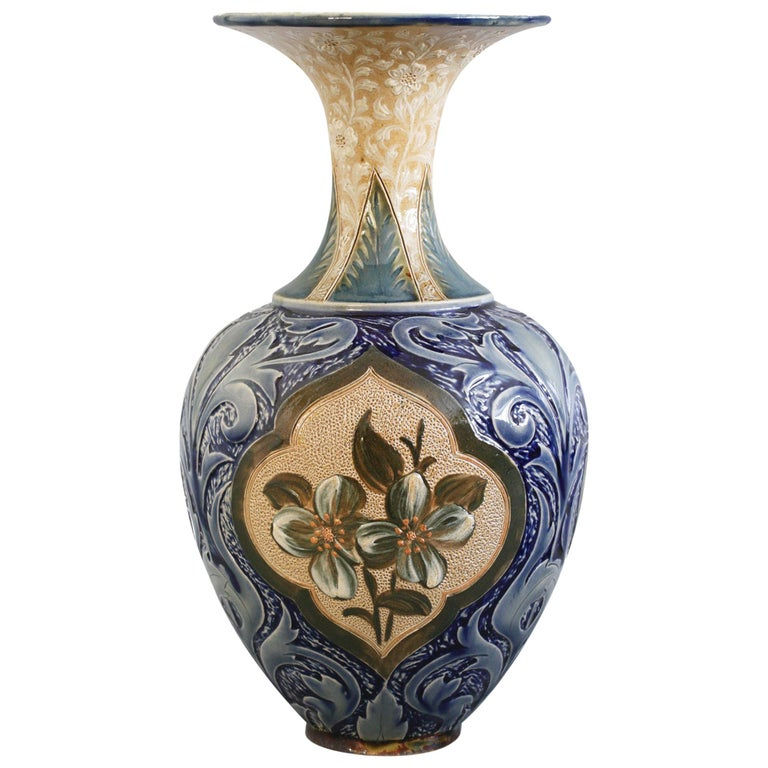 Doulton Lambeth Exceptional Slip Decorated Floral Vase by Elizabeth M Small 1883