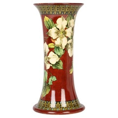 Doulton Lambeth Faience Mary A Harding Hand Painted Floral Art Pottery Vase