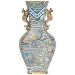 Doulton Lambeth Maqueterie Dragon Handled Vase, 19th Century