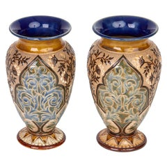 Doulton Lambeth Pair of Exceptional Art Pottery Vases by Alice Barker, 1883