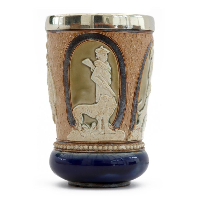English Doulton Lambeth Rare Huntsman Art Pottery Beaker by Minnie Thompson Dated 1882 For Sale