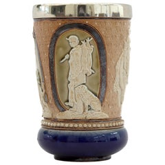 Doulton Lambeth Rare Huntsman Art Pottery Beaker by Minnie Thompson Dated 1882