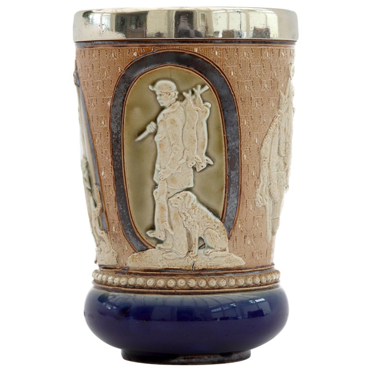 Doulton Lambeth Rare Huntsman Art Pottery Beaker by Minnie Thompson Dated 1882 For Sale