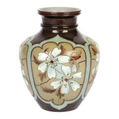 Doulton Lambeth Silicon Ware Floral Panel Design Vase by Eliza Simmance