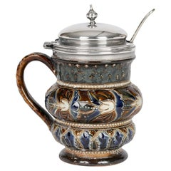 Doulton Lambeth Silver Plate Mounted Mustard Pot by Emily Partington, 1880