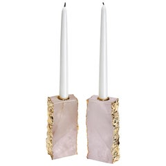 Dourado Candleholders in Crystal and 24-Karat Gold by Anna Rabinowitz