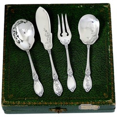 Doutre Roussel French All Sterling Silver Dessert Hors D'oeuvre Set 4 Pc, Box