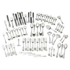 Douvaine by Unger Brothers Art Nouveau Sterling Silver Flatware 75 Pieces