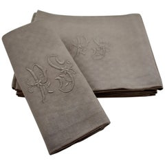 Dove Gray Linen Damask Hand-Embroidered French Provençal Dining Napkins, Set/Six