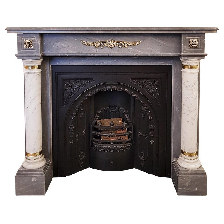 Dove Grey Fireplace Mantel With Carrara Columns And Br Embellishments For