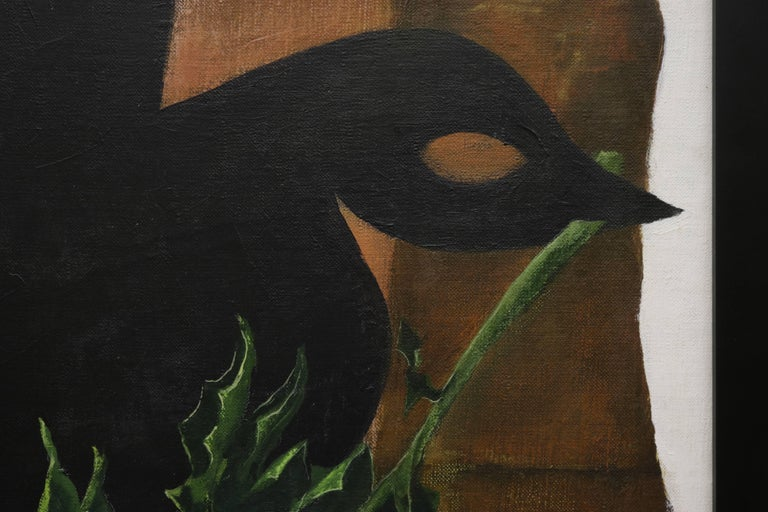 Mid-Century Modern Dove Holding a Branch Oil Painting by David Segel For Sale