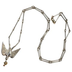 Dove Necklace Gold Heart White Diamond Ruby Victorian Style Silver J Dauphin