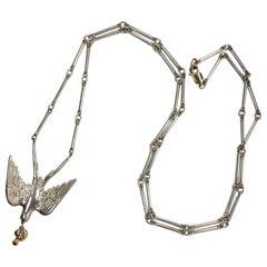 White Diamond Dove Ruby Gold Heart Silver Pendant Chain Necklace Victorian Style