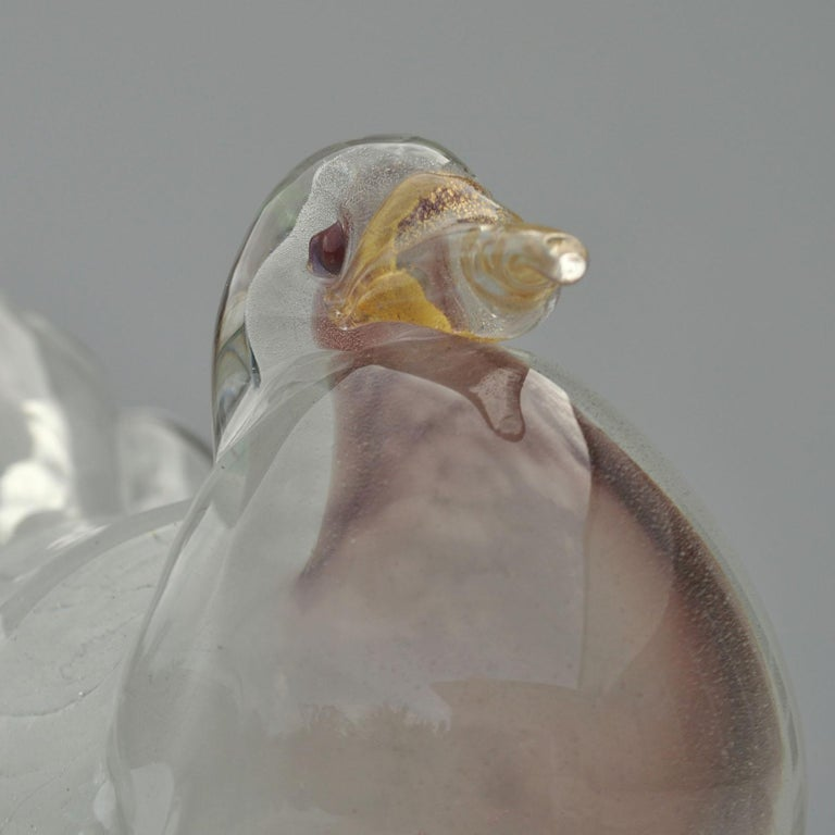 Italian Dove Sculpture Hand Blown Glass Attributed to Seguso 1950s Italy For Sale