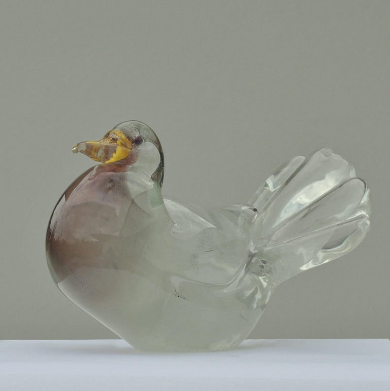 Dove Sculpture Hand Blown Glass Attributed to Seguso 1950s Italy In Excellent Condition For Sale In London, GB