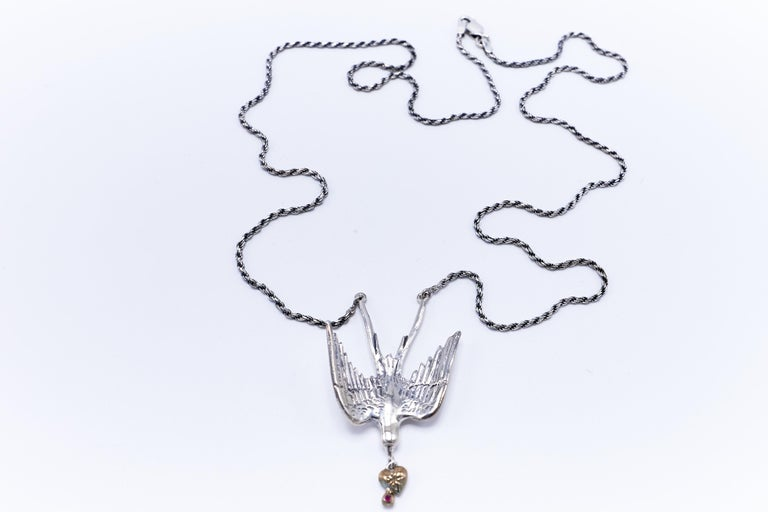 Contemporary Dove Silver Necklace Heart Ruby White Diamond Victorian Style J DAUPHIN For Sale