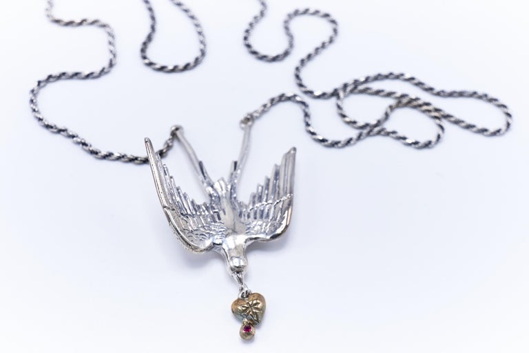 Dove Silver Necklace Heart Ruby White Diamond Victorian Style J DAUPHIN In New Condition For Sale In Los Angeles, CA