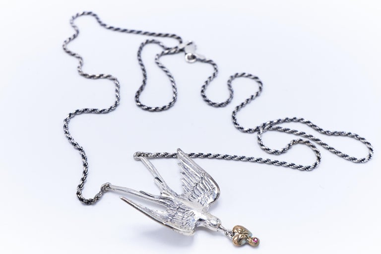 Women's or Men's Dove Silver Necklace Heart Ruby White Diamond Victorian Style J DAUPHIN For Sale