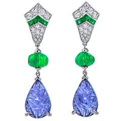 Dover Diamond Carved Emerald and Tanzanite 18 Karat Gold Drop Dangle Earrings