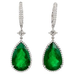 Dover Diamond Certified GIA Colombian Emerald Diamond 18K Gold Drop Earrings