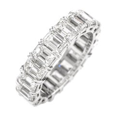 Dover Diamond Emerald Cut 6.19 Carat Diamond Eternity Platinum Band Ring