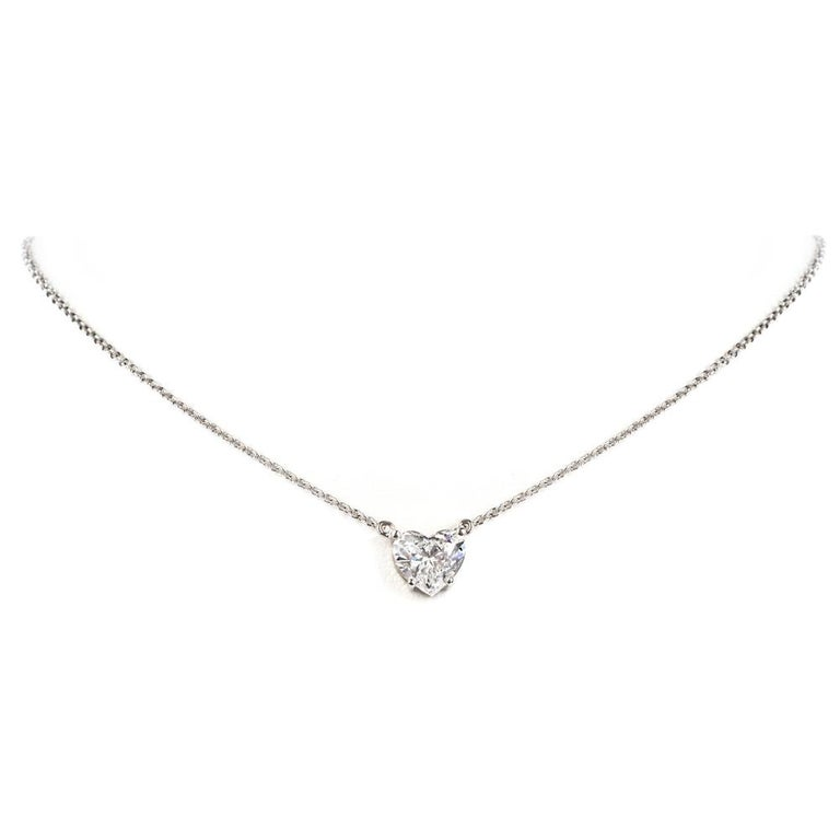 Dover Diamond  Heart GIA 2.06 Carats D-SI1 Platinum Choker Pendant Necklace In Excellent Condition For Sale In Miami, FL