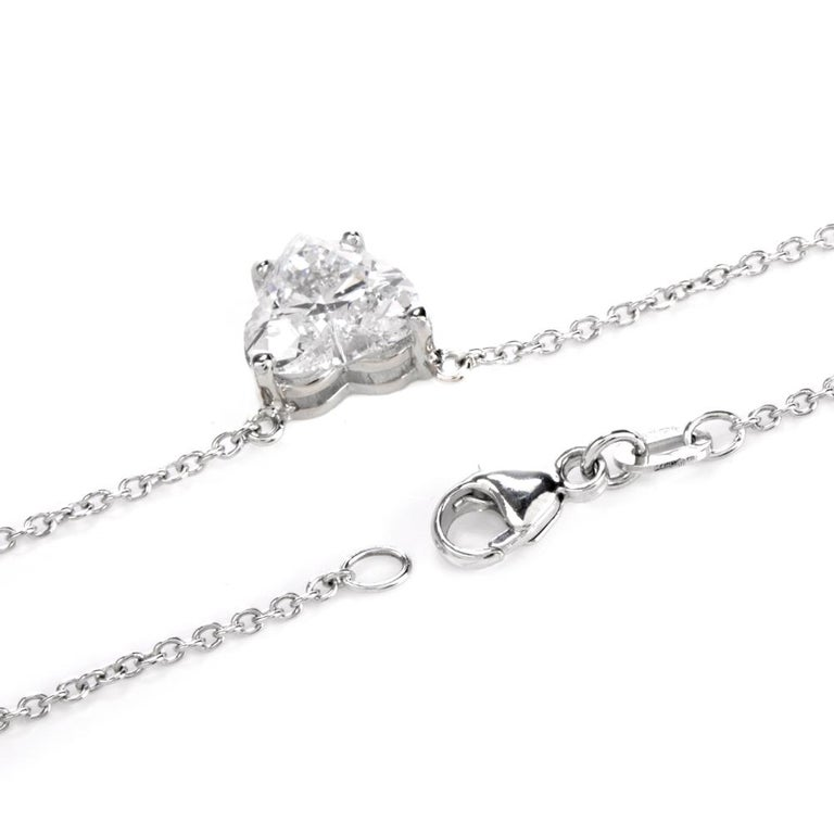 Dover Diamond  Heart GIA 2.06 Carats D-SI1 Platinum Choker Pendant Necklace For Sale 1