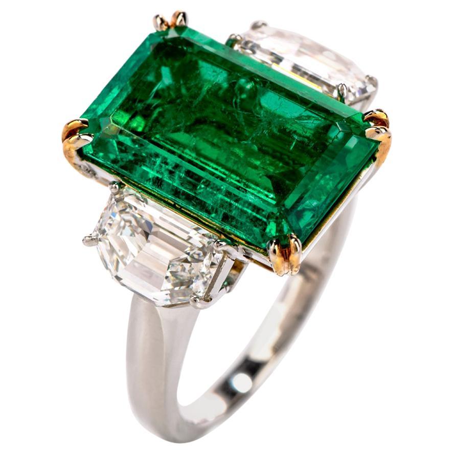 Dover Diamonds GIA Colombian Emerald Diamond 3-Stone Platinum Ring